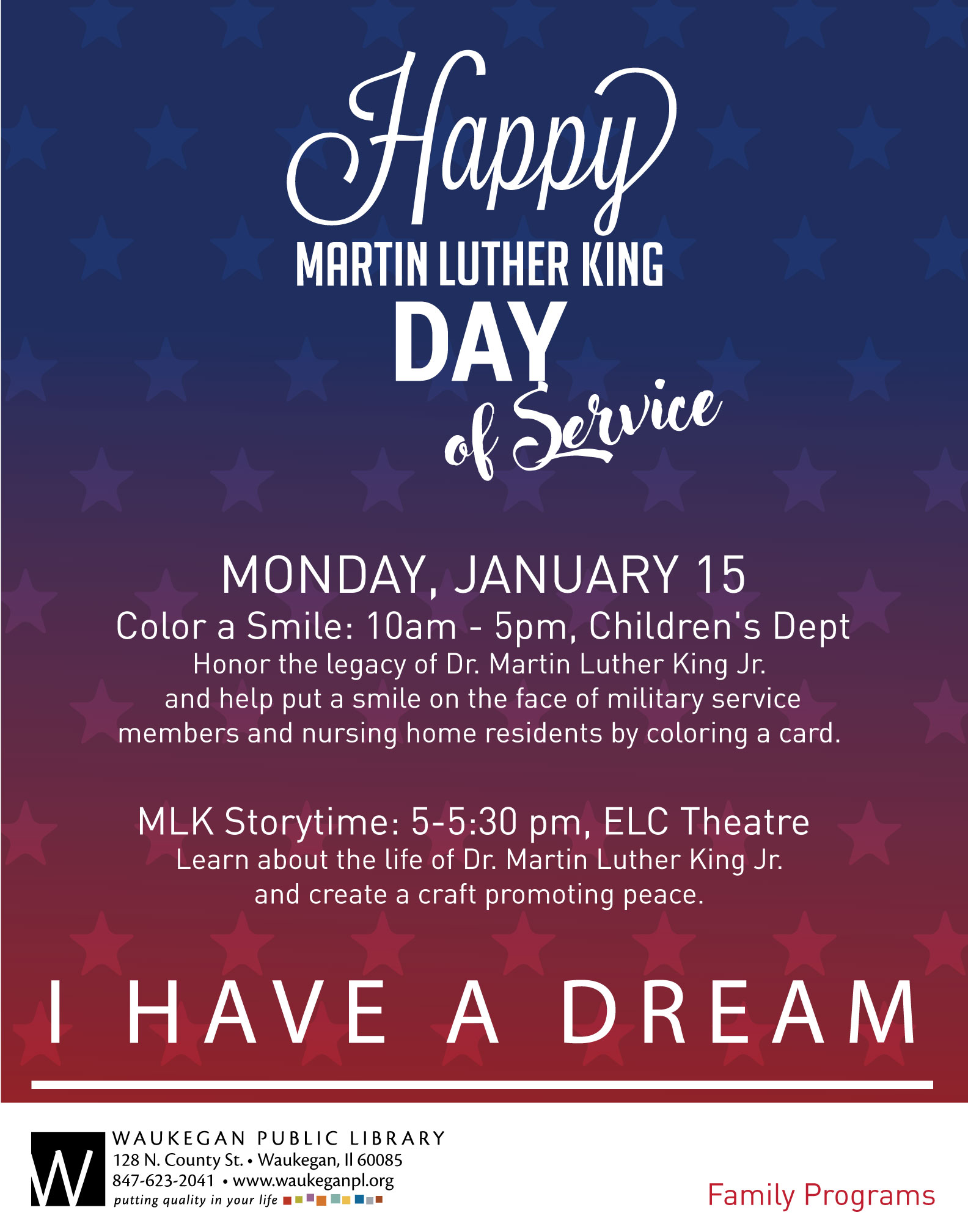 Martin Luther King Jr Day Of Service Waukegan Public