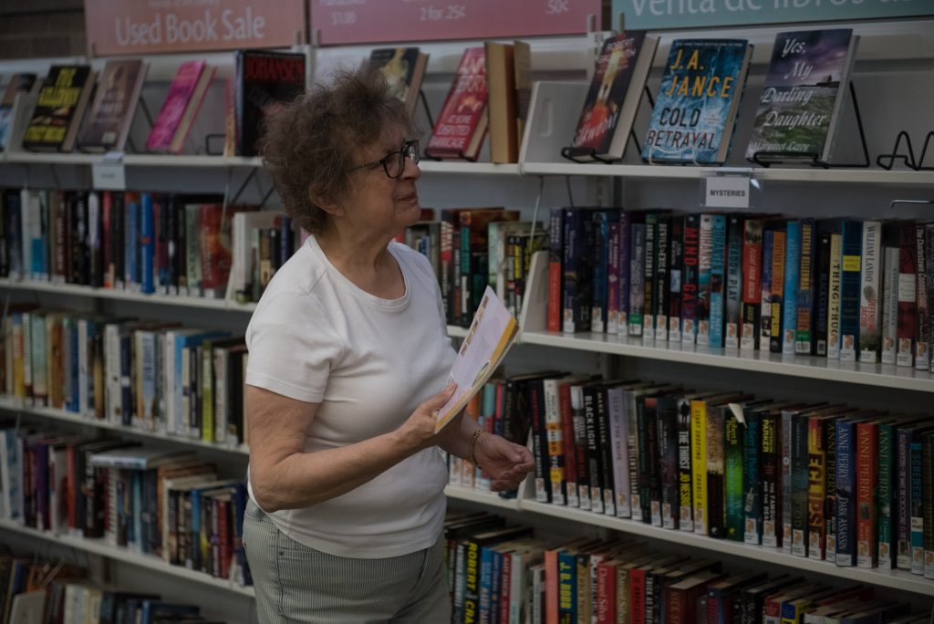 a Friend of the Library maintains the book sale. © steven e gross 17919 Waukegan Public Library