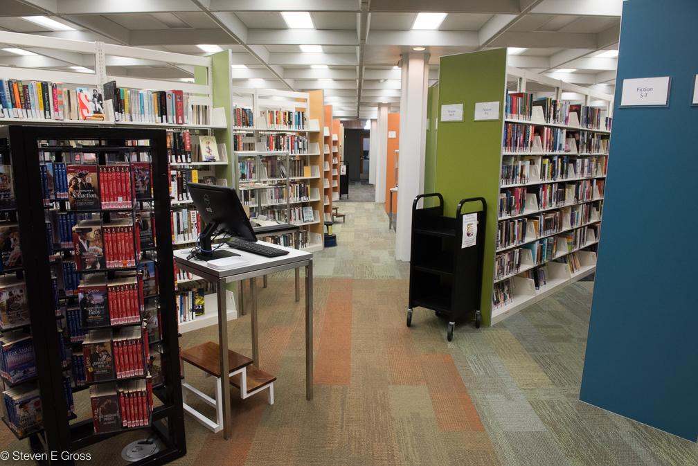 Stacks of books at Waukegan Library. © Steven E Gross