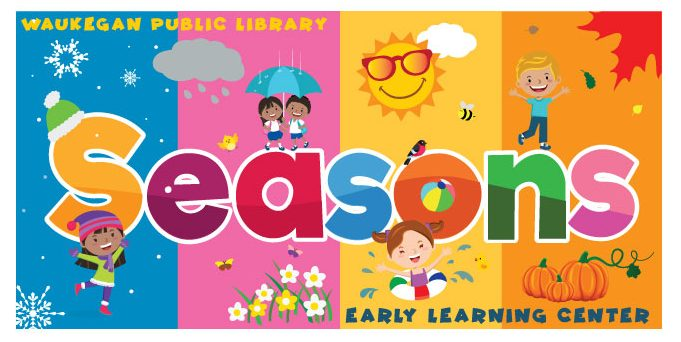 The logo for our new Early Learning Center exhibit features children dressed for all seasons surrounded by various symbols of each season: snowflakes for winter, flowers for spring, the sun for summer, and pumpkins for fall.